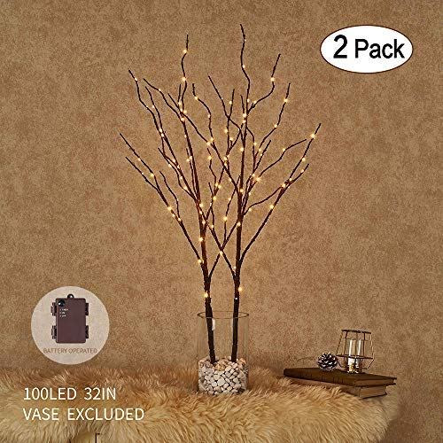 Lighted Artificial Brown Twig Tree Branch with Fairy Lights 32IN 100 LED Battery Operated Lighted Willow Branch for Christmas Home Decoration Indoor Outdoor Use 2 Pack (Vase Excluded)