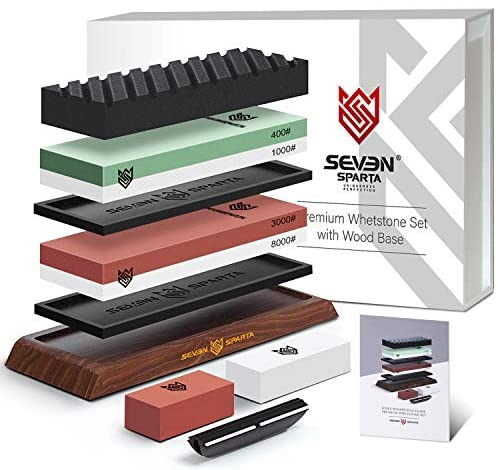 Seven Sparta Knife Sharpening Stone Set 3000/8000 and 400/1000 Grit Knives Sharpener Stone Whetstone Sharpening Kit with Non Slip Acacia Wood Base, 2 Silicone Pad, Flattening Stone, Angle Guide