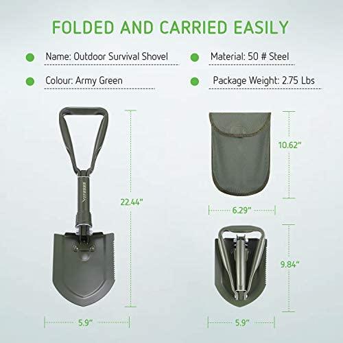 VIVOSUN Military Folding Camping Shovel Survival Multitool for Camping, Hiking, Backpacking