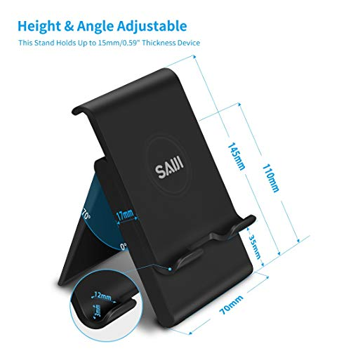 Adjustable Tablet Stand, SAIJI Portable Foldable Ipad Holder, Multi-Angle Cell Phone Stand Compatible with iPad, Tablets (Up to 12.9 inch), All Smartphones (Black)