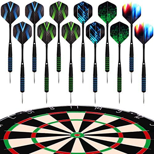 Darts Steel Tip Set Professional for Dartboard 4 Sets 54 Pcs 20 22 Grams with 9 Extra Flights Tool Kit O Rings Ebook