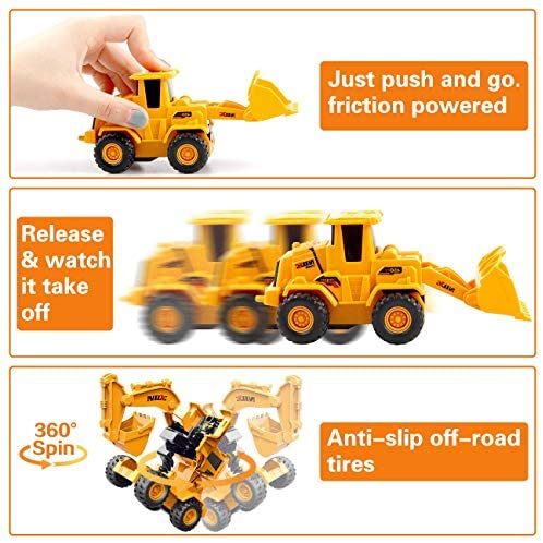 IFLOVE 3 Pack Transforming Construction Trucks Toys with Excavator Digger Tractor Bulldozer Friction Powered Push and Go Toy Cars for Kids Boys and Girls, Ages 3+