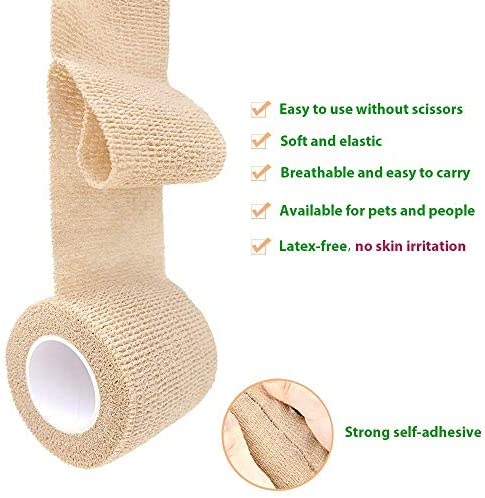 Self Adhesive Cohesive Wrap Compression Bandage – Breathable Self Adherent Wrap for Pets - Athletic Elastic Cohesive Bandage for Sports Injury: Ankle, Knee & Wrist Sprains
