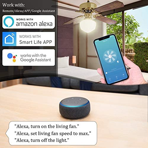 Small WiFi Ceiling Fan Remote Control Kit, Universal Small Size Receiver 12 Hours Countdown Timing 4 Speeds Compatible with Echo Alexa Google Assistant Smart Life,Replacement of Harbor Breeze Receiver