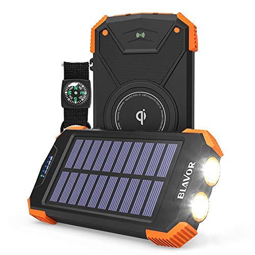 Solar Power Bank, Qi Portable Charger 10,000mAh External Battery Pack Type C Input Port Dual Flashlight, Compass (IPX4 Splashproof, Dustproof, Shockproof, Solar Panel Charging, DC5V/2.1A Input)