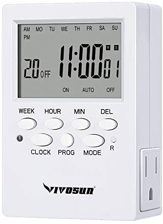 VIVOSUN 7 Day Programmable Timer Indoor Digital Electronic Timer with Dual Outlet, 20 On/Off Program Setting, and Countdown Setting, 1 Pack