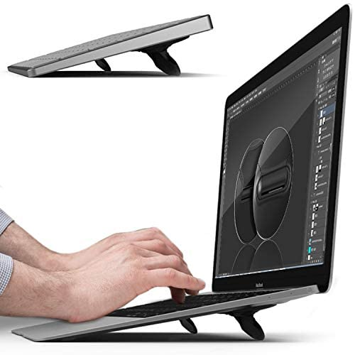 sincetop Computer Keyboard Stand&Portable Laptop Stand for Desk Foldable Laptop Cooling pad Invisible Lightweight Ventilated Laptop Riser Computer Stand for Apple MacBook, Most Notebooks and Keyboard