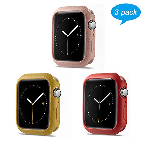 3 Pack Miniseas Environmental Protection Material case Compatible with Apple Watch case 38MM 40MM 42MM 44MM Protective Bumper Cover for iwatch Series 5/4/3/2/1 (RED Pink Yellow,38MM)