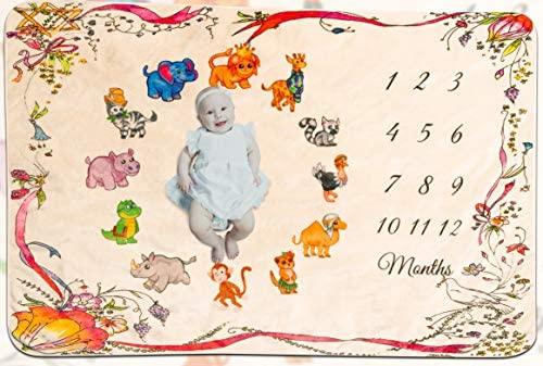 Eximius Power Baby Monthly Premium Milestone Blanket Cute Animal Print | Extra Soft 40 x 60 inches Flannel Fleece |Bonus Floral Wreath | Unisex Baby Photo Backdrop |Newborn to 12 Months Girl or Boy