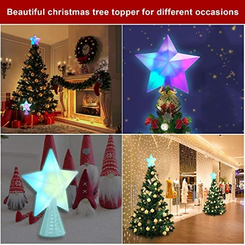 LSXD Christmas Tree Topper Lighted with Automatic Color Changing LED Light,USB Powered 3D Christmas Star Tree Topper for Crown Christmas Tree,Xmas/Holiday/Winter Home Wonderland Party Decoration
