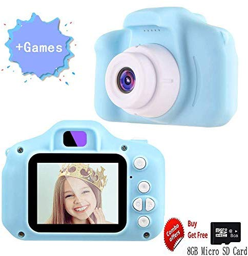 iRULU 2019 New Kids Digital Camera for Girls with Game,Pink Childrens Camera with 1080P Screen & 16GB SD Card,Outdoor Toddler Boys Toys Age 4-5-6-7 Years,Birthday Gifts for 3-12 Year Olds Girls (Blue)