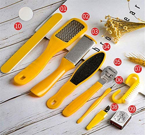 Professional 10 in 1 Pedicure Kit Foot File Set Foot Care Kit Stainless Steel Pedicure Tool Foot Rasp Foot Dead Skin Remover Pedicure Kit for Men Women