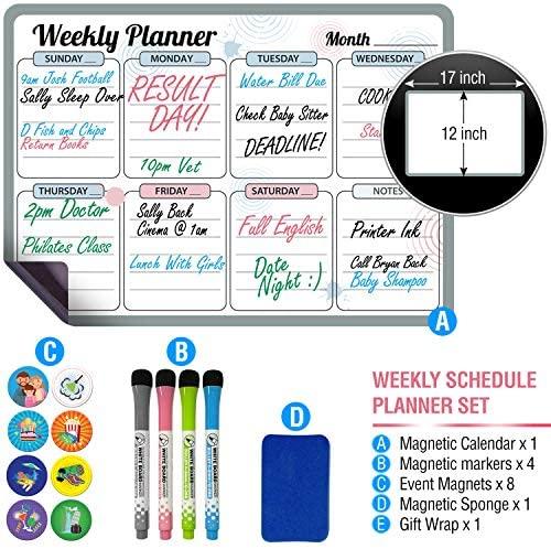 Weekly Magnetic Dry Erase Calendar for Fridge 17 x 12 inch
