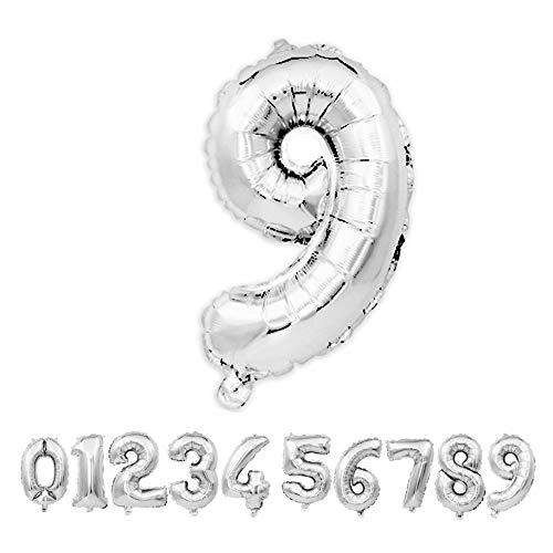 ZZIIEE 40 Inch Large Silver Numbers 0-9 Birthday Party, Festival, Anniversary Party Decorations Helium Foil Mylar Big Number Balloon Digital 9