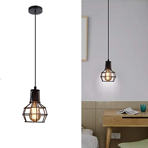SHUNG YU Metal Cage Pendant Light, Vintage Industrial Ceiling Lamp Rustic Hanging Wire Cage Mini Light Fixture for Office Dining Room Living Room Kitchen Island Restaurant(Bulb not included)