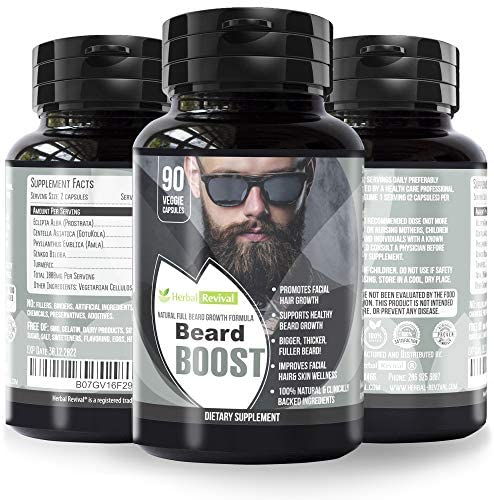 Herbal Revival Beard Growth Supplements for Men – Promotes Healthy Facial Hair Growth for Men – Thicker Stronger Fuller Beard – All Natural Clinically Approved Ingredients – 100% Vegan Beard Vitamins