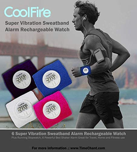 Vibrating Alarm Sweat Band Watch with USB Charging Port
