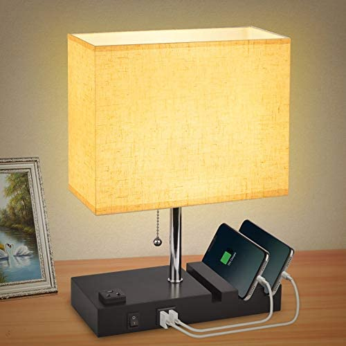 USB Bedside Table Lamp for Bedroom with 3 Phone Stands,Modern Table Lamp with 2 USB Charging Ports,1 AC Outlet,Minimalist Square Fabric Linen Lampshade,Cotanic Nightstand Lamp with E26 LED Bulb