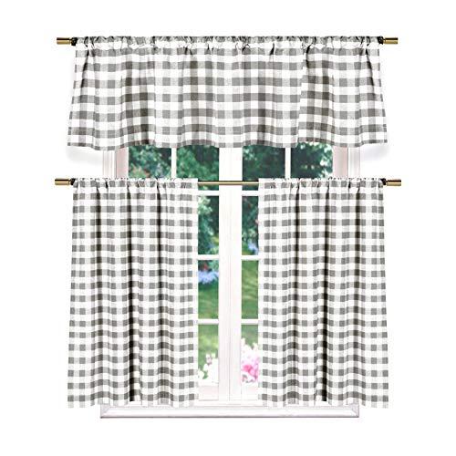 Designer Linens 3 Piece Plaid Country Chic Cotton Blend Kitchen Curtain Tier & Valance Set (Grey)