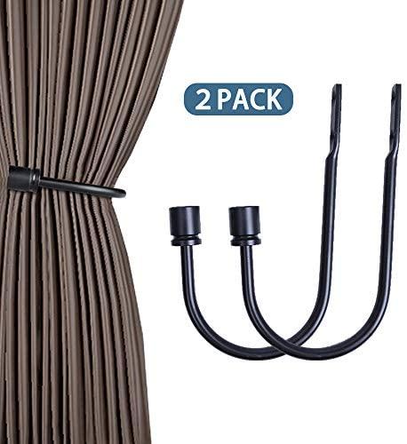 Gudui Curtain Holdbacks Black Curtain Tiebacks Heavy Duty Curtain Drapery Hooks for Drapes Home Decorative Drapery Curtain Holders Set of 2