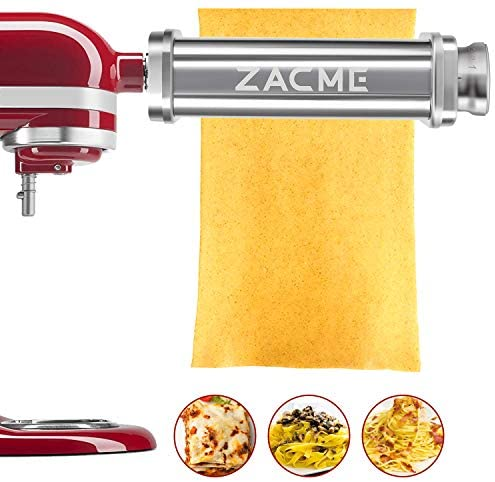 (2 Packs) Pasta Maker Attachment Pasta Roller for KitchenAid Stand Mixers, Pasta Rollers Stainless Steel Water-Washed Noodle Maker Machine Accessory and Dish Sponge Kitchen Scrub Cleaning Sponges Bundle
