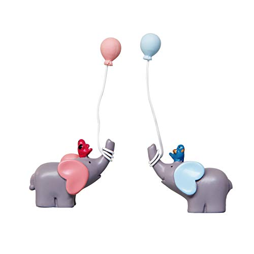 Sunormi 1 Pair Blue & Pink Elephant With Balloons Cake Toppers For Baby Shower Girls Boys Kids Birthday Cake Decoration