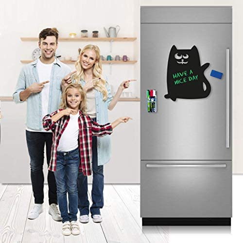 "Magnetic Chalkboard for Refrigerator - Black Board for Fridge Magnetic - Black Dry Erase Board Magnetic - Fridge Black Magnetic Board for Kids with Markers and Holder 15"" X 11"""