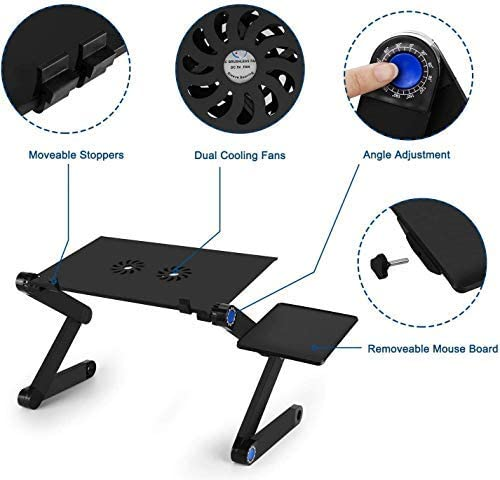INSHERE Adjustable Laptop Desk Potable Laptop Stand for Bed Laptop Foldable Riser Stand for Desk with Mouse Pad 2 Cooling Fans Suit for Bed Desk Sofa (Black)