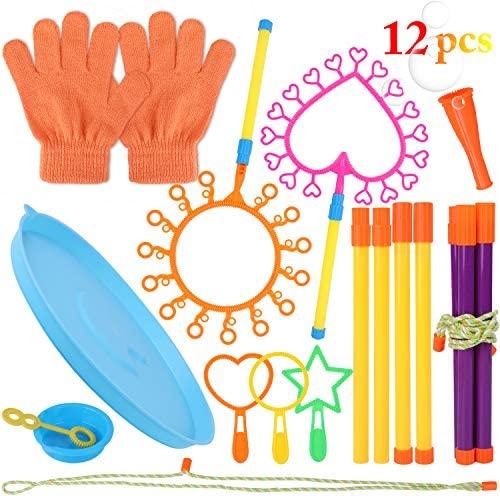 Coxeer Bubble Wands, 12PCS Bubble Wand Set Multipurpose Creative Party Bubble Toy Set for Kids Summer Party Supplies