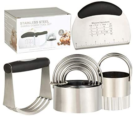 Biscuit Cutter Set, Stainless Steel Pastry Scraper, 6 Biscuit Cutter Set Stainless Steel Baking Dough Tools,Heavy Duty Dough Cutter-Dough Blender,Professional Baking Dough Tools & Pastry Utensils