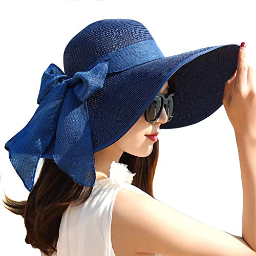 Women Wide Brim Sun Protection Straw Hat for Outdoors Tavel Foldable UV Protection Beach Cap Sun Hat for Summer (C-Navy Blue)