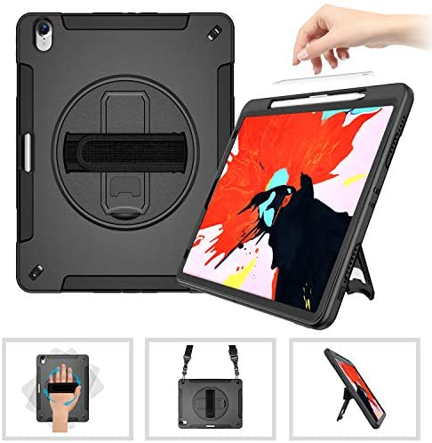 iPad Pro 12.9 Case 2018 with Pencil Holder Support Apple Pencil Charging+Shoulder Strap+Hand Strap+360° Rotating Stand Heavy Duty Shockproof Case for iPad 12.9 3rd Generation-Black