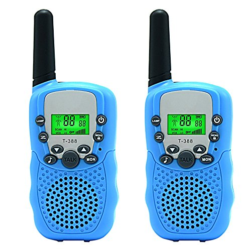 Aphse Kids Walkie Talkie Wireless Two Ways Radio Toy T-388 3 Miles Range 22 Channels Built in Flash Light FRS GMRS Birthday Gift Mini Toys Outdoor Adventures Camping Hiking Set of 2