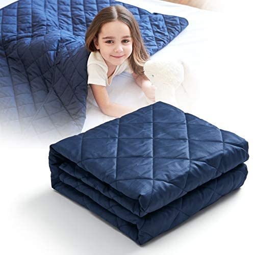 CO-Z 5lbs Weighted Blanket for Kids Size Navy Blue 36x48 inches 300TC Premium Breathable 100% Cotton Material, Durable Soft Heavy Blanket with Glass Beads, Skin-Friendly Oeko-TEX Certified
