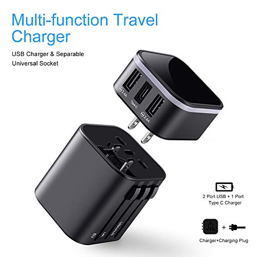 Travel Adapter Elough Universal International Power Adapter World Travel USB Outlets 100V to 240V【Type c + 2 Port USB + EU/US/AUS/UK】 Plug Converter,Multi Adapter Travel Accessories