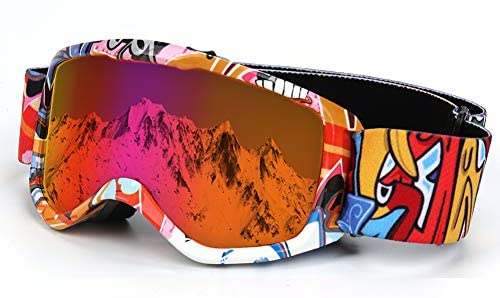 Flantor Kids Ski Goggles, Snowboard Goggles for Kids Helmet Compatible Snow Goggles,Outdoor Sports Tactical Glasses with Non-Slip Strap for Boys and Girls - 100% UV Protection