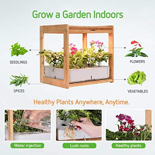 VIVOSUN Hydroponics Growing Kit Indoor Gardening Plant Kit with LED Plant Grow Light Bamboo Frame 12 Plant Baskets Water Tank (Seeds Not Included)