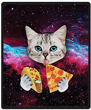 "Qihua Universe Starry Cat Eat Pizza Blanket Velvet Plush Throw Blanket Bed Blankets Super Soft and Cozy Fleece Feeling Blanket for Travelling 58""(Width) x 80""(Length)"
