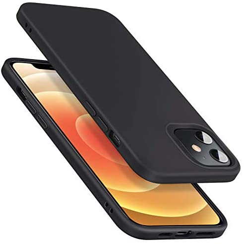 """$10 commission for iPhone 12 Mini Case, Liquid Silicone Rubber Case [Comfortable Grip] [Screen & Camera Protection] [Velvety-Soft Lining] [Shock-Absorbing] for iPhone 2020, 5.4"""" – Black"""