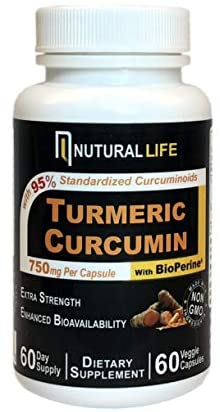 Turmeric Curcumin Supplement with BioPerine Black Pepper for Maximum Absorption, Supports Healthy Joint and Inflammatory Response with 95% Std. Curcuminoids, 750mg per Capsule, Nutural Life (60 count)