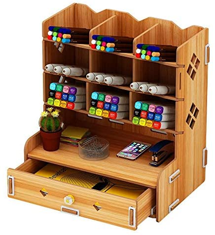 INSHERE Wooden Desk Organizer Office Supplies Multi-Functional Storage Box Office Desk Personalized furnishings Easy to Assemble DIY Penholder Storage Rack with Drawer (Wood)