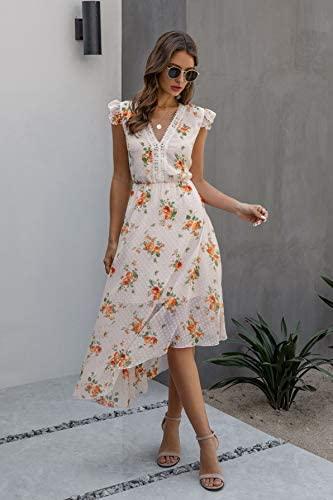 Alelly Women's Sleeveless Bohemian Summer Dresses High Low Ruffle Hem Floral Flowy Dresses