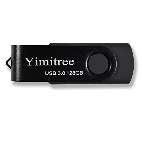 128GB USB 3.0 Flash Drive, Ymitree Pen Drive Thumb Drive Pendrive Rotate 360 Degrees USB Memory Stick Jump Drive (Black)