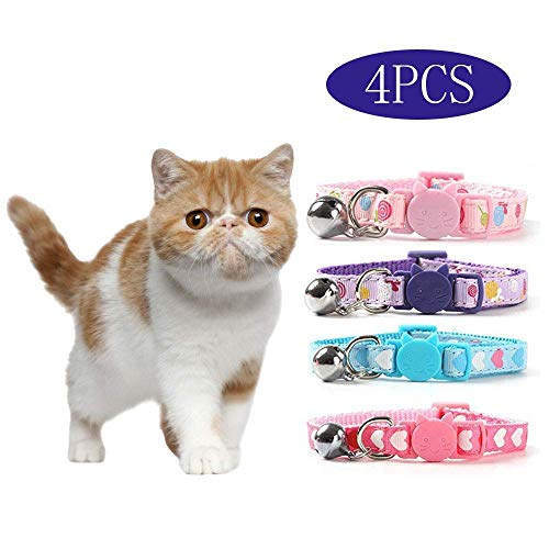 DAIXI Cat Collars,Bell Adjustable Cat Collar with Release Buckle Cat Bell Collar with Heart-Shaped Nylon Strip for Cat,Pup, Kitty 4PCS