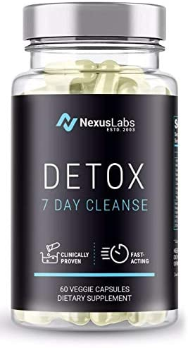 Nexus Labs Detox with Milk Thistle Extracts – Fast Removal of Toxins and Impurities from Urinary Tract Kidneys and Liver in 7 to 10 Days (60 Veggie Capsules)