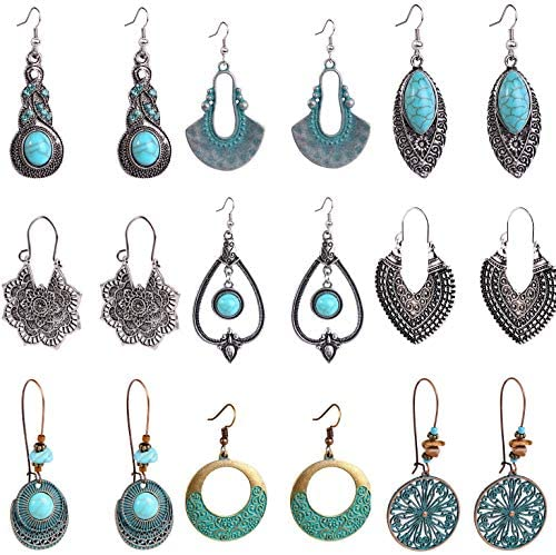 INSHERE Drop Dangle Earrings,Bohemian National Style, 9 Pairs of Water Drop Shaped Earrings, Handmade Ethnic Style Retro Earrings, Simple and Versatile, for Women Girls