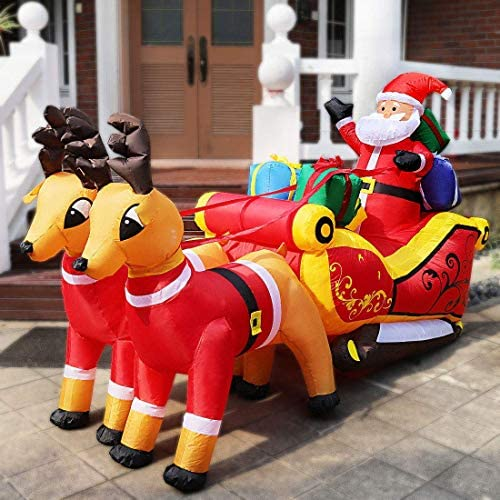 7.2ft Long Christmas Inflatable LED Lighted Santa on Sleigh with Reindeers and Gift Boxes Blow up Outdoor Yard Decoration