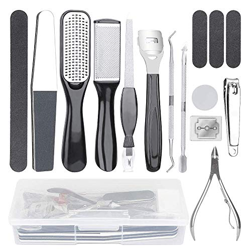 Professional 15 in 1 Pedicure Kit Foot File Set Foot Care Kit Stainless Steel Foot Rasp Foot Dead Skin Remover Pedicure Kit for Men Women