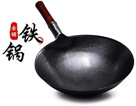 Chinese 100% Hand Hammered Iron Woks Stir Fry Pans, Non-stick, No Coating, Less Oil, 36CM, Black Seasoned with wooden handle