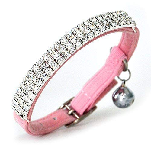 DAIXI Soft Velvet Safe Cat Adjustable Collar Bling Diamante with Bells,11 inch for Small Dogs and Cats (Pink)